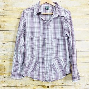Hi Tec Plaid Long Sleeve Shirt Snap Button